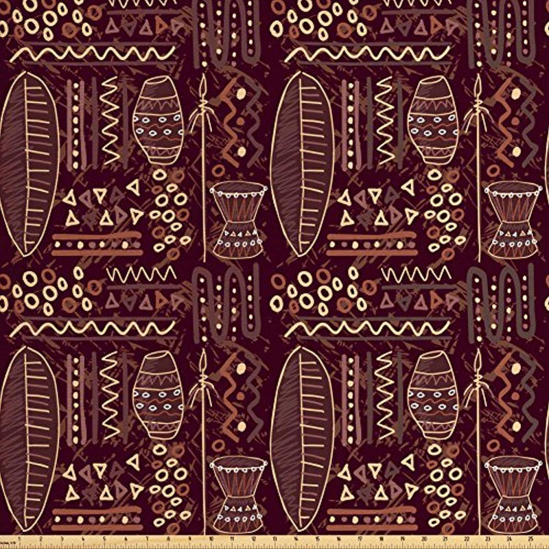 Ambesonne Brown Fabric by the Yard, African Ethnic Tribal Image with Geometrical Shapes Artwork Print, Decorative Fabric for Upholstery and Home Accents, Dark Brown Cocoa and Cream - Ufumbuzi - Home