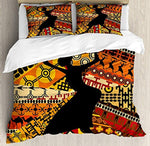 African Woman Full Size 4 Pcs Bedding Set, Silhouette of a Indigenous Woman Carrying a Basket on Traditional Patterns All Season Duvet Cover Bed Set, Multicolor - Ufumbuzi - Home