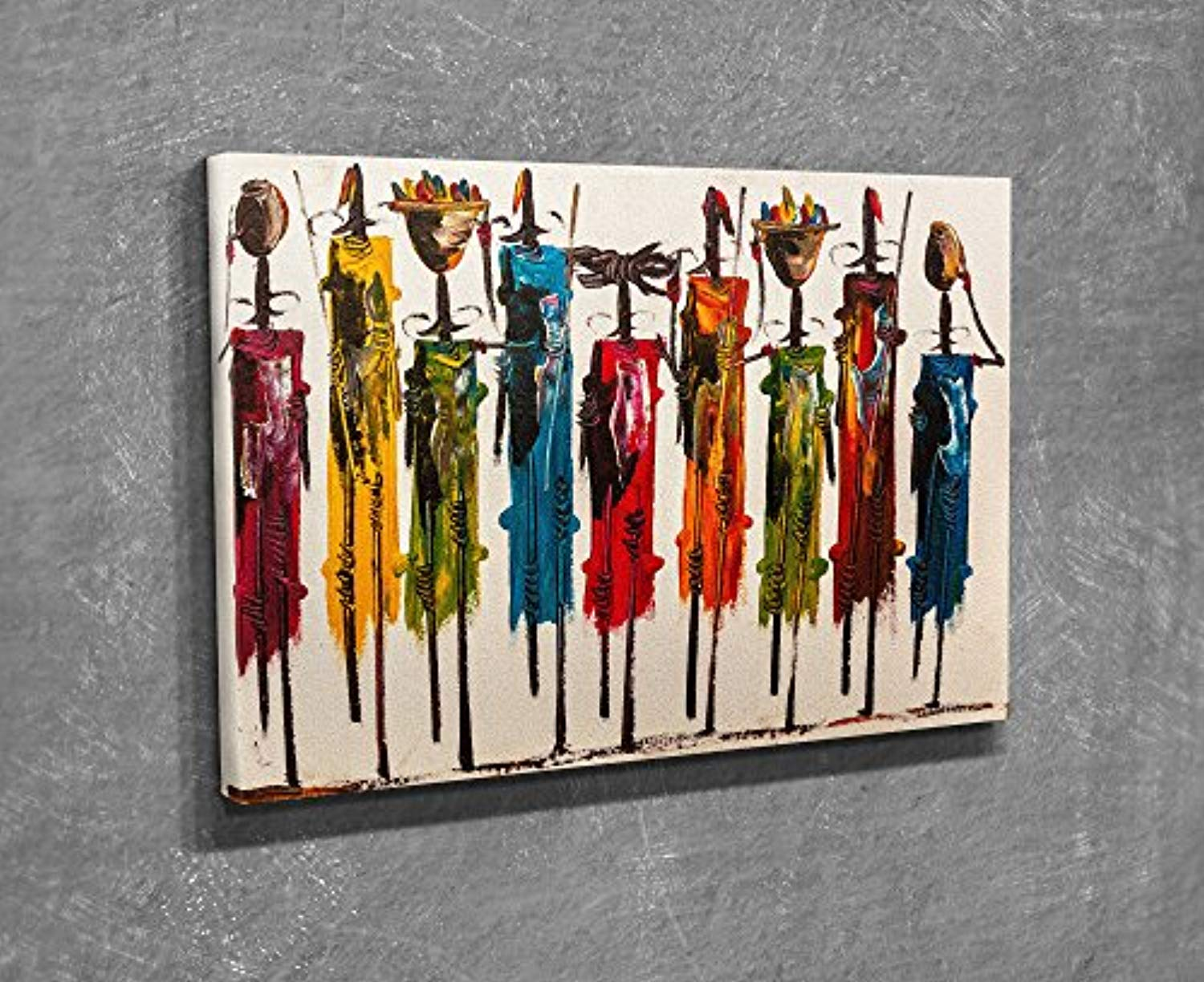 "LaModaHome Decorative Canvas Wall Art (12"" x 16"") Wooden Thick Frame Painting Colourful Absurd Drawing African Vase Item Stick MULTI VARIANTS in STORE!"