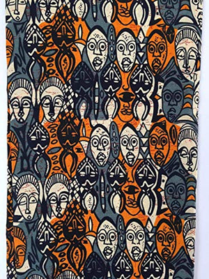 African Head Wrap for Women, African Masks Fabric