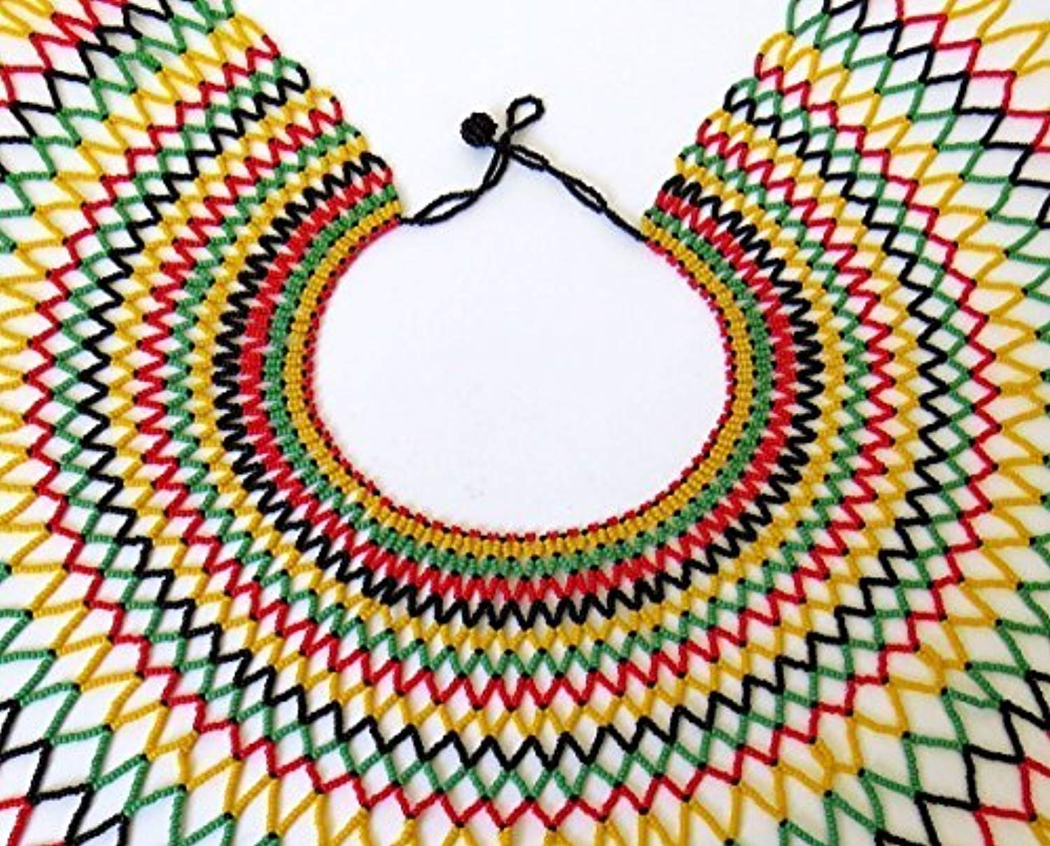 Traditional African Zulu wedding necklace beaded, oversized necklace, statement piece, gift for her– Rasta colours - Ufumbuzi - Home