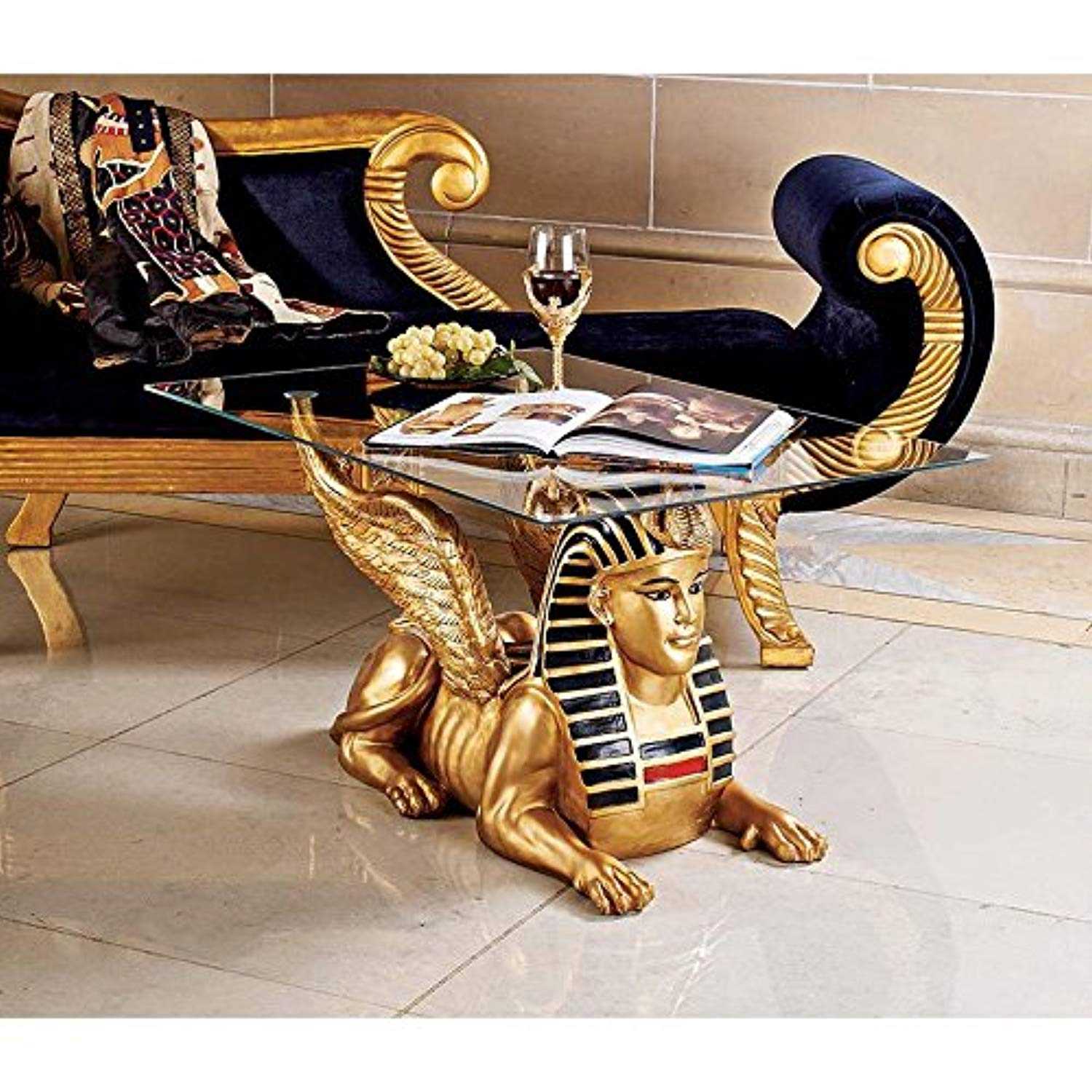 Design Toscano Egyptian Sphinx Glass Topped Sculptural Table in Faux Gold and Egyptian Palette - Ufumbuzi - Home