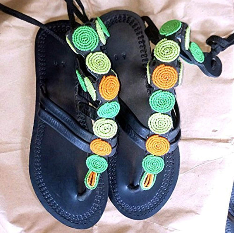 African Bead Gladiator Flat Slim Womens Leather Sandals with Tire Sole | Fashion African Tribal Leather Shoes - Ufumbuzi - Home