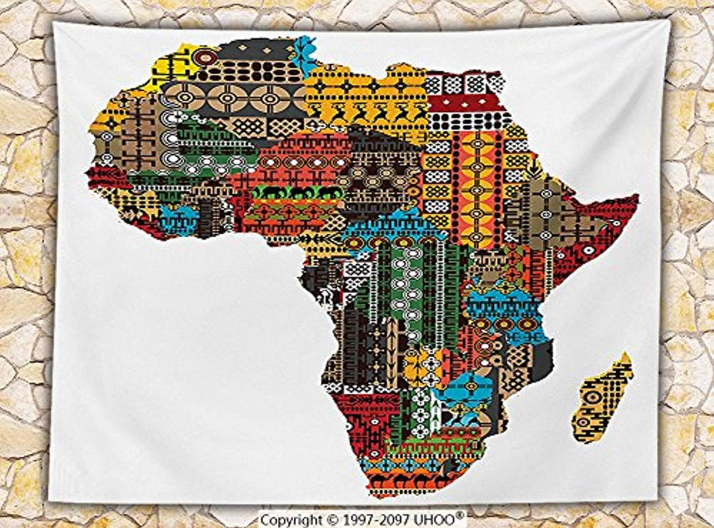 African Decorations Fleece Throw Blanket Africa Map with Countries Made of Architectural Feature Popular Ancient Continent Art Throw Multi