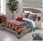Chic Home 4 Piece Nerea REVERSIBLE Large Scale global tribal african inspired printed Queen Duvet Set Red - Ufumbuzi - Home