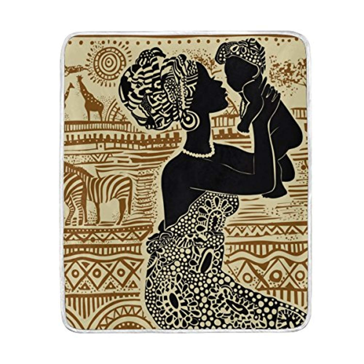 Cooper girl African Woman And Her Baby Throw Blanket Soft Warm Bed Couch Blanket Lightweight Polyester Microfiber 50x60 Inch - Ufumbuzi - Home