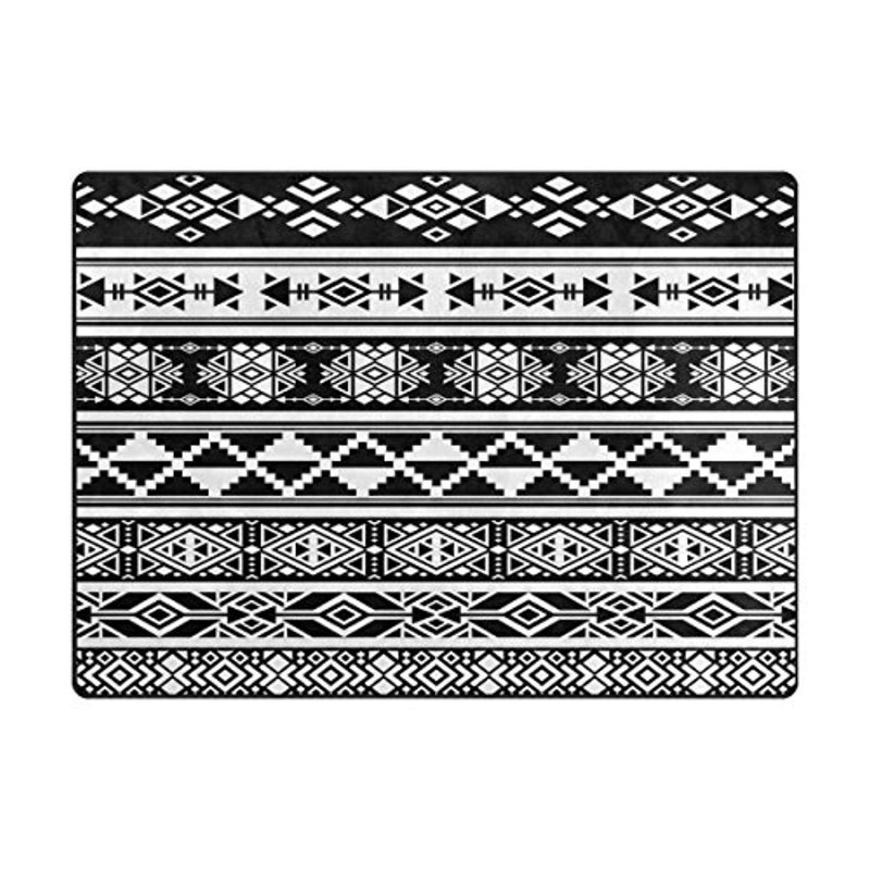 ALAZA Black African Aztec Tribal Area Rug Rugs for Living Room Bedroom 5'3 x 4' - Ufumbuzi - Home
