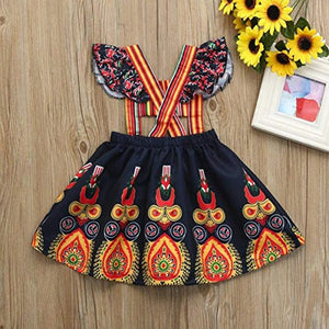 Kids Baby Girls African Tribal Print Backless Dress Suspenders Skirt