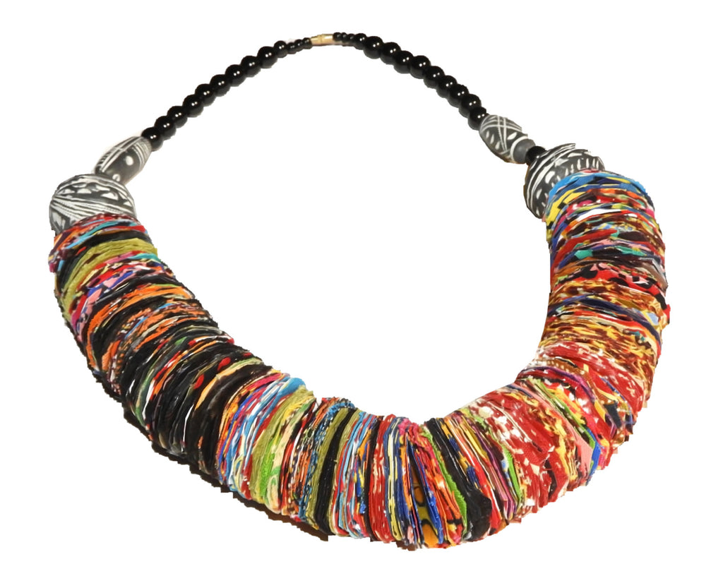 Handmade Fabrics Necklace with beads