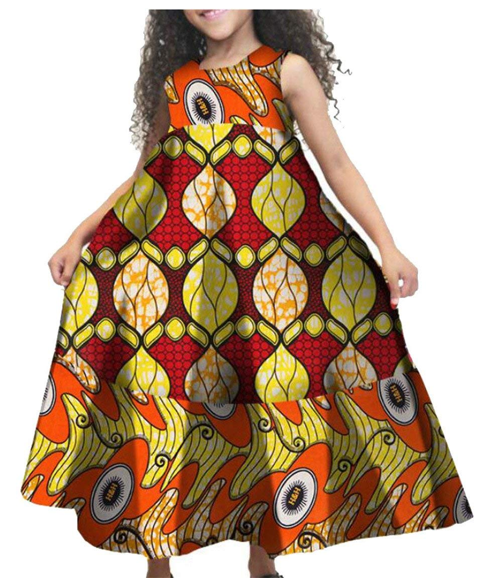 GAGA Little Girls African Print Casual A Line Cute Sleeveless Holiday Summer Dress - Ufumbuzi - Home