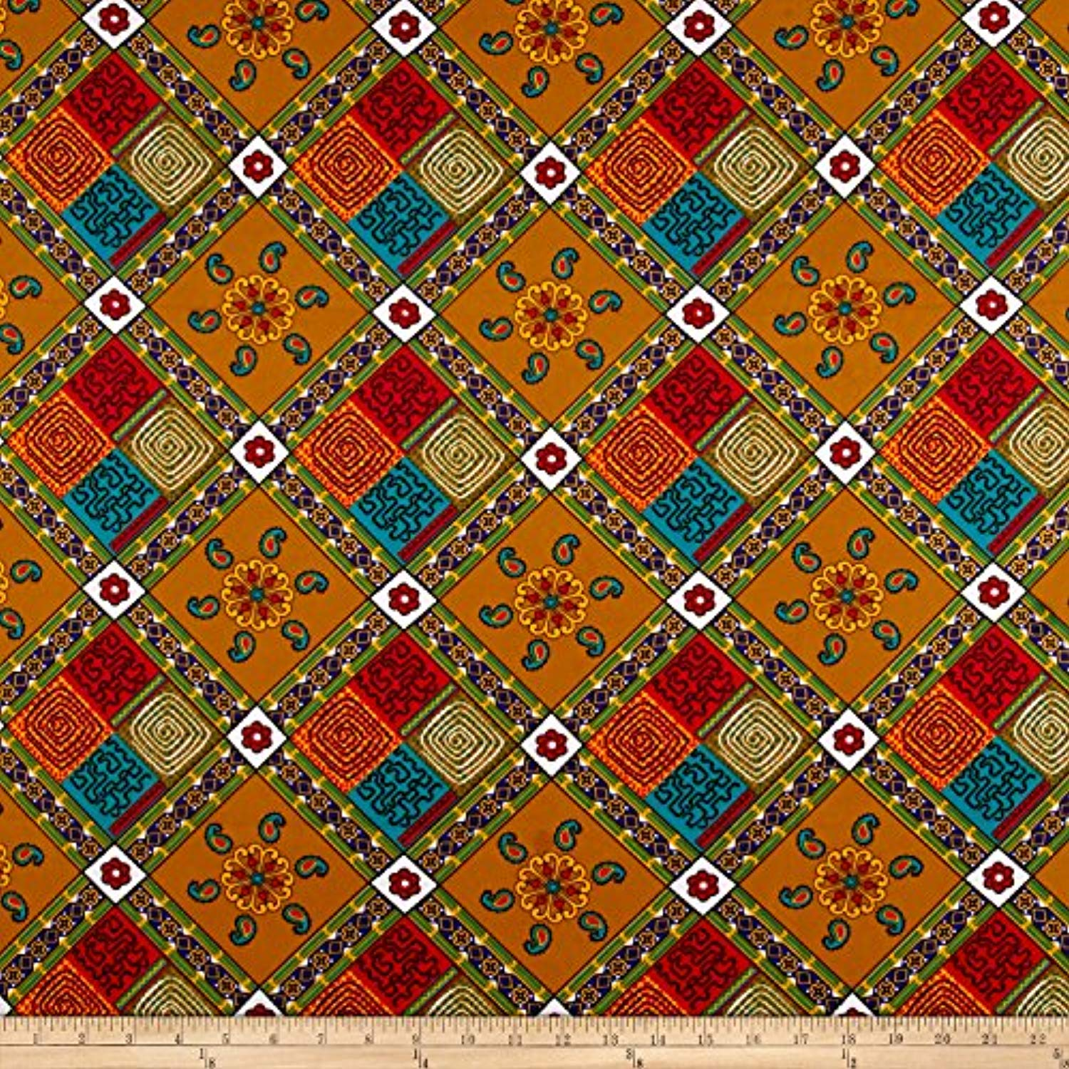 Sonna USA Supreme Fancy African Print 6 Yard Fabric, Tan/Multi - Ufumbuzi - Home