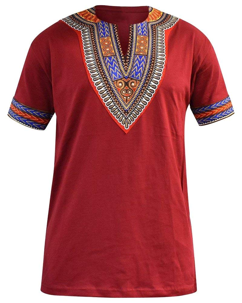 Huiyuzhi Men's African Print Dashiki T-Shirt Summer Short Sleeve Fashion Tops Tee - Ufumbuzi - Home