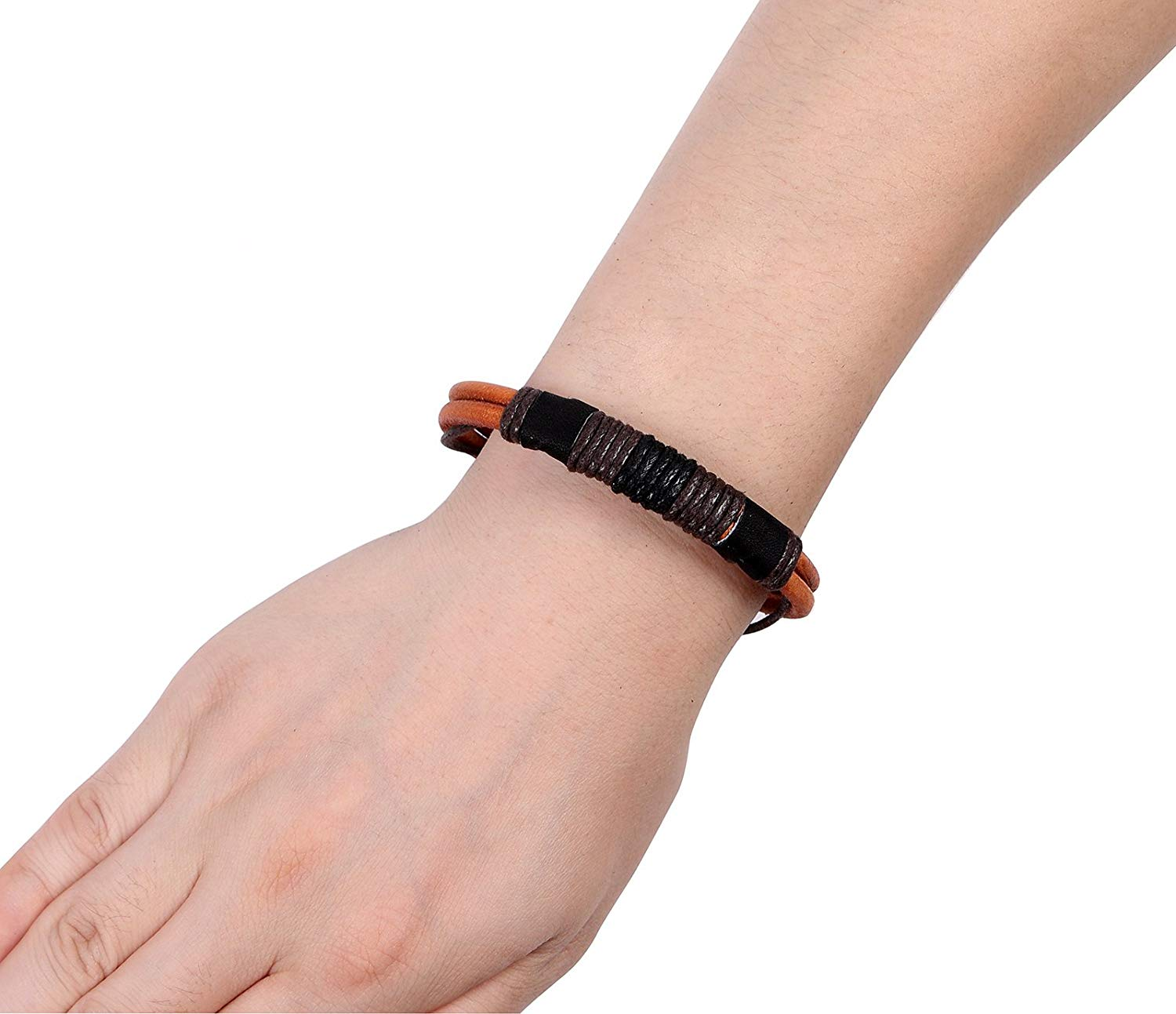 Areke Mens Handmade Rope Braided Leather Bracelets Bangle Wrap for Womens Boys Girls