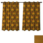 Anzhouqux Zambia Blackout Thermal Backed Curtains for Living Room Tribal Pattern with Wavy Lines Geometric Triangles Kenyan Art Design Window Curtain Fabric Cinnamon Light Brown Black W55 x L63 inch