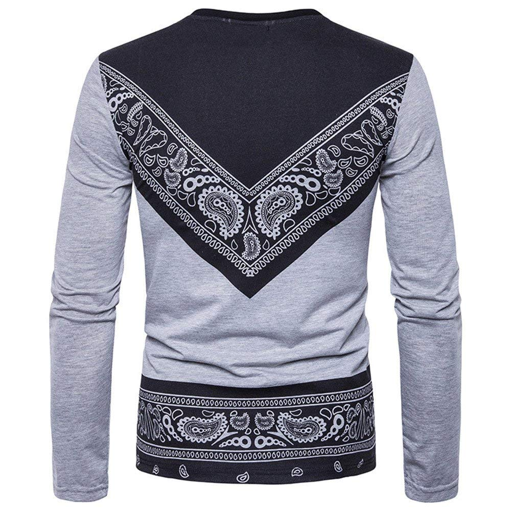 Men's Shirt ,Clearance Sale -Farjing Men's Autumn African Print Long Sleeved Round Collar Sweatshirts Top Blouse - Ufumbuzi - Home