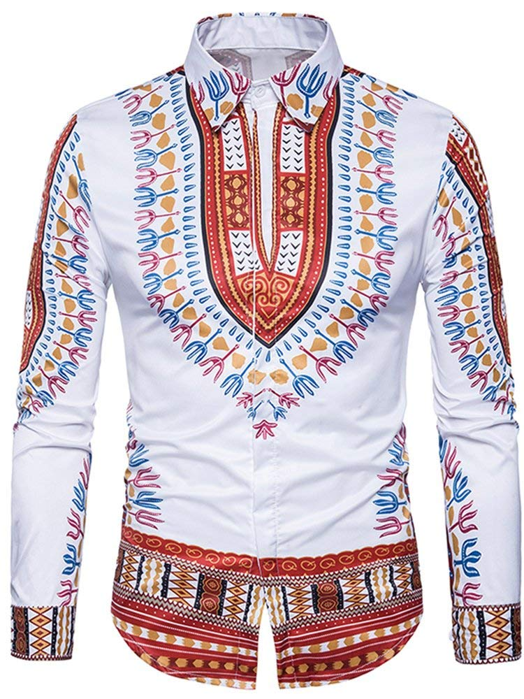 Yobecho Unisex African Bright Dashiki Cotton Shirt Variety Colors - Ufumbuzi - Home