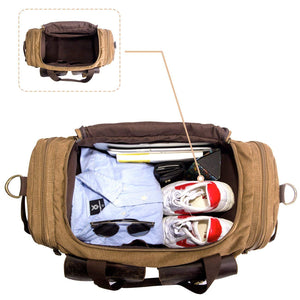 cf81f532a SUVOM Leather Canvas Duffle Bag Weekend Overnight Bag Travel Tote Duffel  Luggage