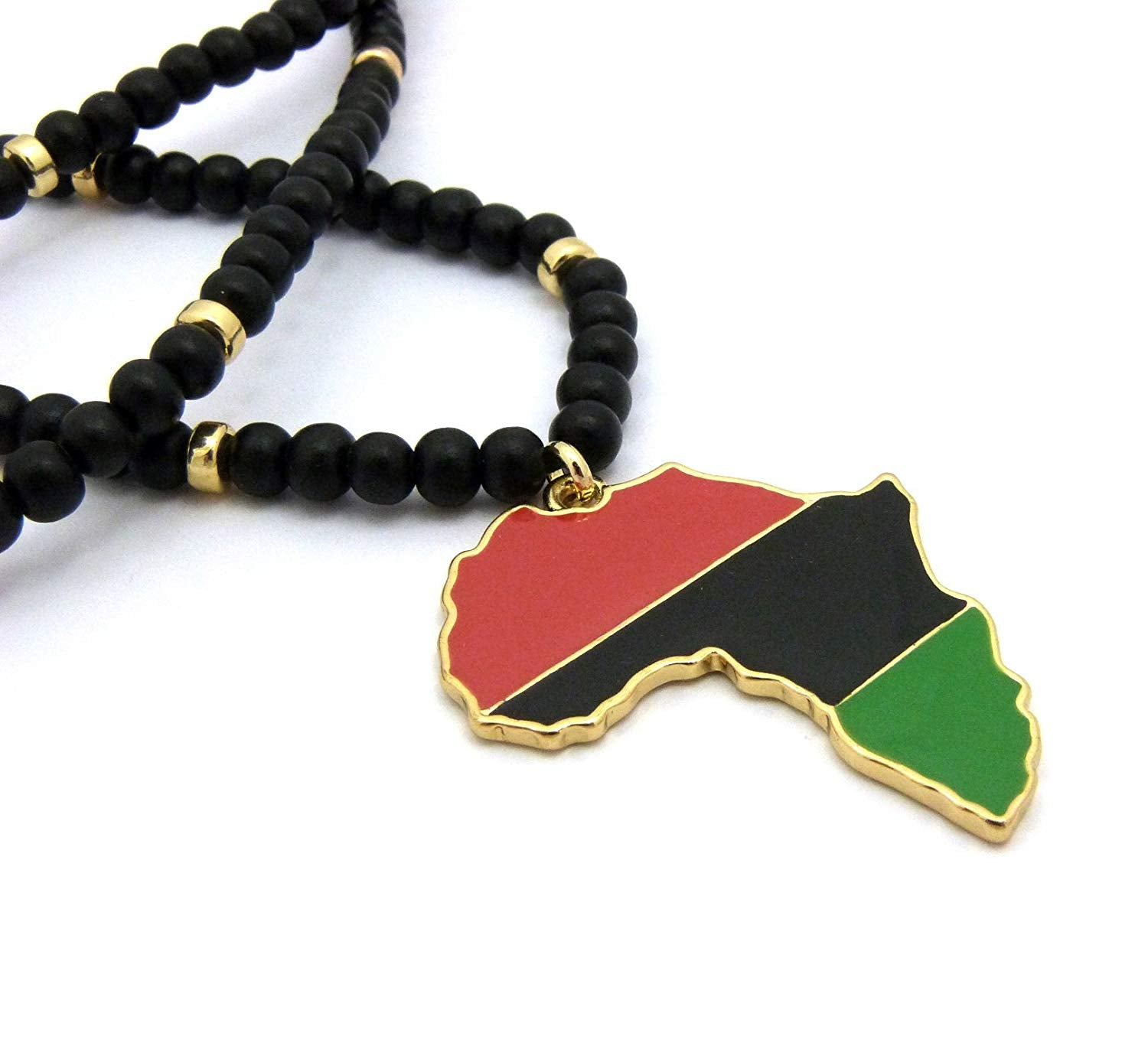 "Fashion 21 Pan African Colored Africa Map Pendant 6mm 30"" Wooden Bead Necklace in Gold, Silver Tone"