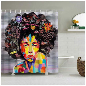 Graffiti Art Design Fabric Hip Hop Shower CurtainAfrican American Girl With Unique Rings Is