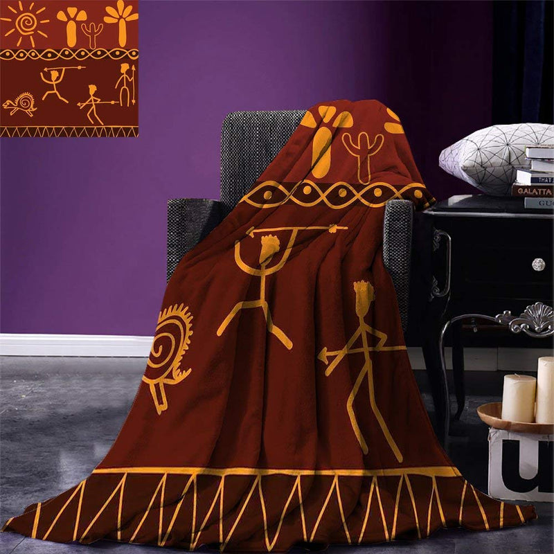 smallbeefly Primitive Custom printed Throw Blanket African Indigenous Motifs with Ethnic Ornament Traditional Tribal Figures Print Velvet Plush Throw Blanket Brown Yellow - Ufumbuzi - Home