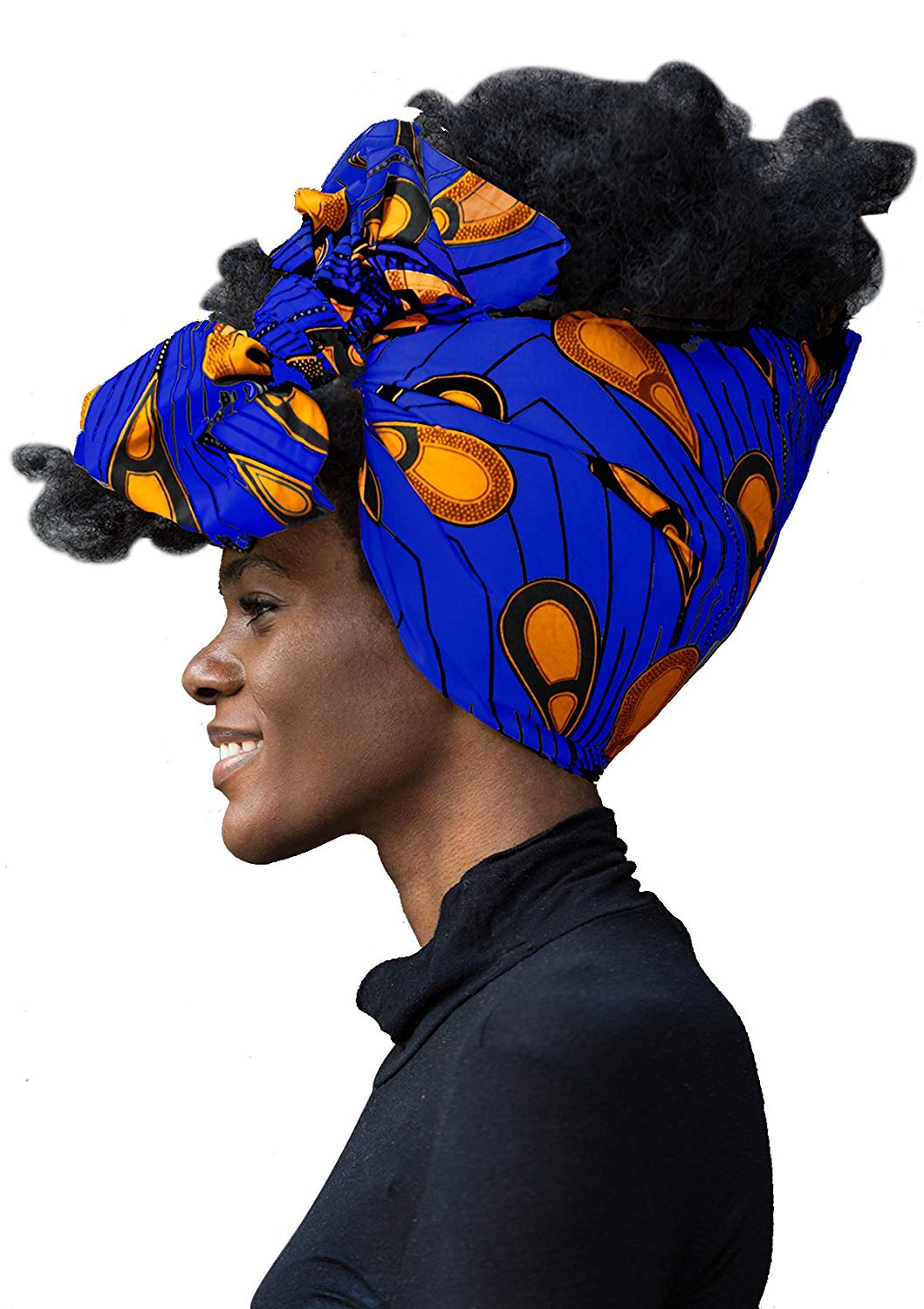"African Head Wrap HongyuAmy Extra Long 72""x22"" African Wax Print Head Scarf Tie (Gold Blue)"