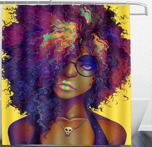 "ARTS MAKER Mildew Resistant White Shower Curtains - African American Black Women Painting Art Yellow Bath Curtain Liner - Waterproof Polyester Fabric Bathroom Decor Set With Hooks - 72"" X 72"""
