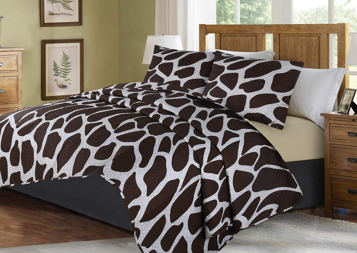 GorgeousHome African Wild Jungle Animals Bedroom Printed Quilt Bedspread Pinsonic Bed Dressing Bedding Cover 2/3pc Set in 3 Sizes Assorted (ANIMAL #6 STRIPE MOSAIC, QUEEN) - Ufumbuzi - Home