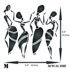 African Dancers Stencil - 4.5 x 4.5 inch (S) - Reusable Women Lady Dancers Ethnic Tribal Wall Stencils for Painting - Use on Poster Scrapbook Journal Walls Floors Fabric Furniture Glass Wood etc. - Ufumbuzi - Home