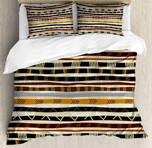Ambesonne Tribal Duvet Cover Set King Size, Ethnic African with Trippy Geometric Forms Timeless Heritage Wild Earthen Pattern, Decorative 3 Piece Bedding Set with 2 Pillow Shams, Multicolor - Ufumbuzi - Home