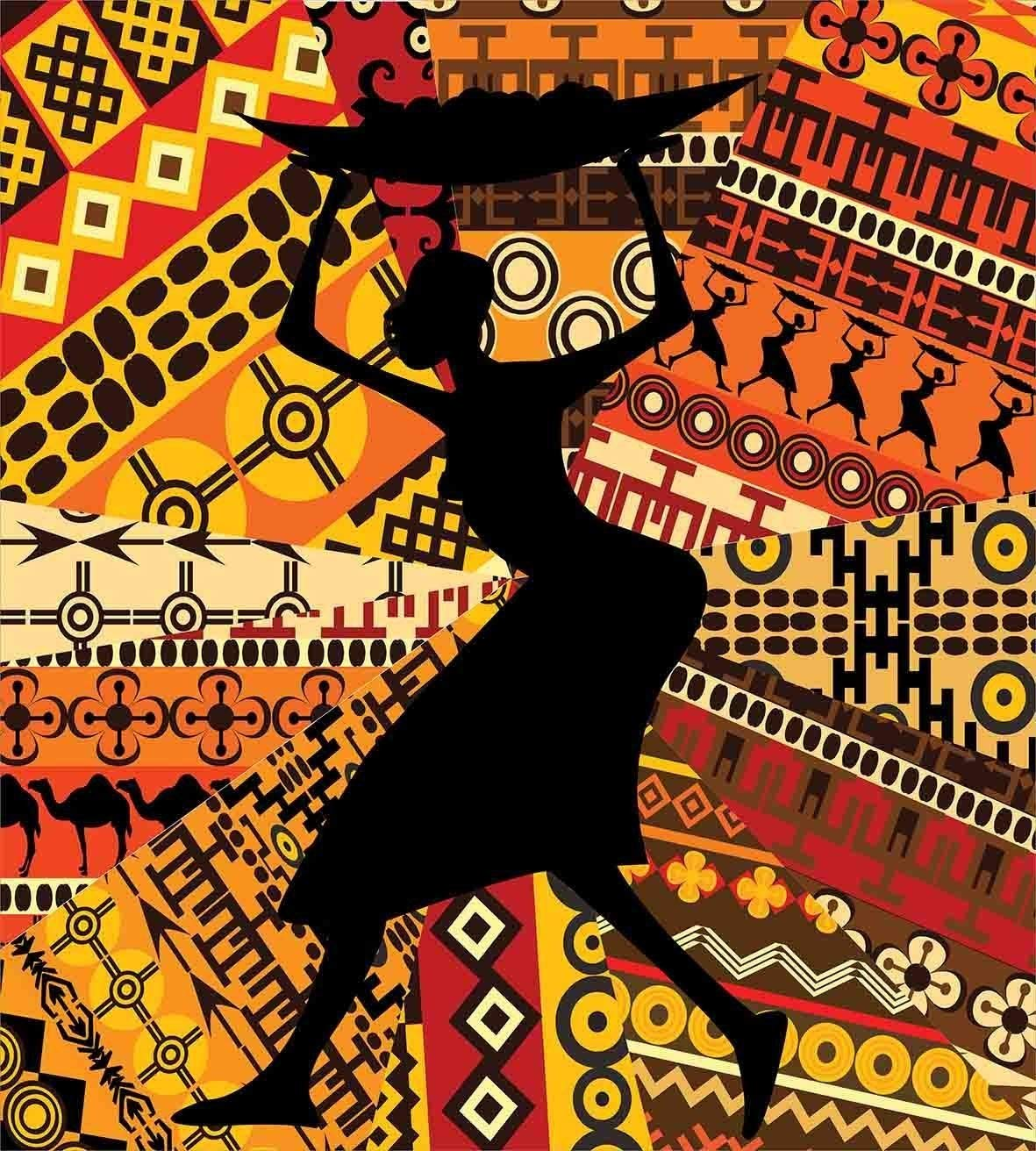 African Woman Full Size 4 Pcs Bedding Set, Silhouette of a Indigenous Woman Carrying a Basket on Traditional Patterns All Season Duvet Cover Bed Set, Multicolor