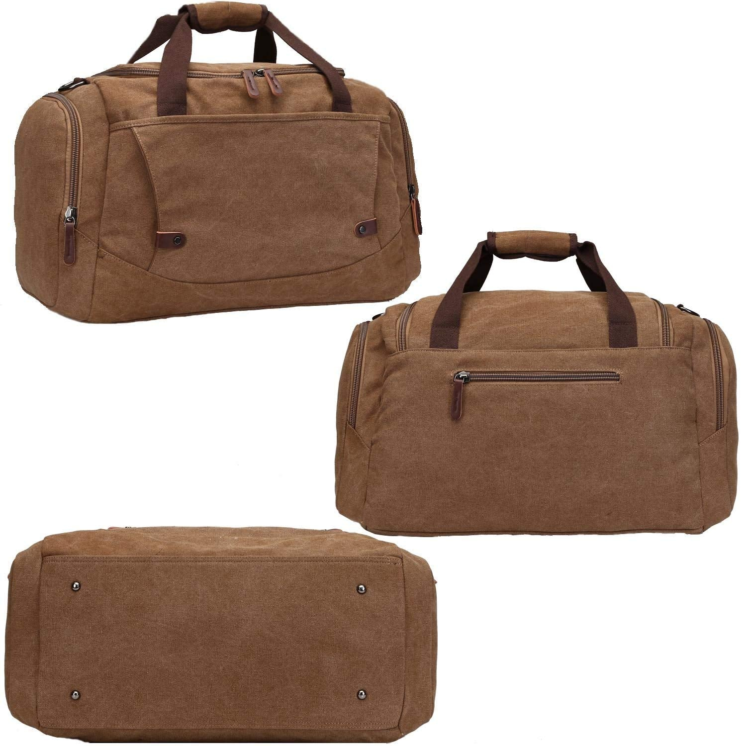 Canvas Duffel bag Overnight Travel Bags Travel Duffel Bag for Men Canvas&Leather gym Bag women - Ufumbuzi - Home