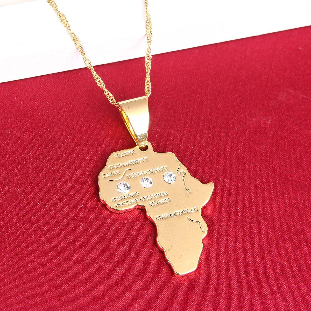 BR Gold Jewelry Big Size Crystal Africa Map Pendant Necklace Women Girl 24K Gold Plated African Map Hiphop Item - Ufumbuzi - Home
