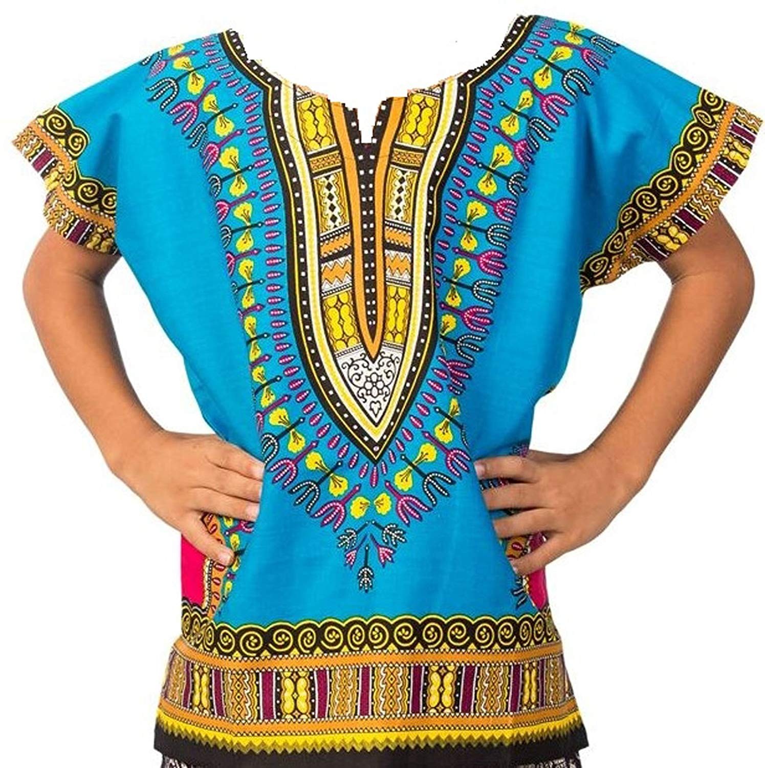 Decoraapparel Kids Traditional Dashiki Shirt Unisex African Boys Printed Dashiki Girls Blouse One Size - Ufumbuzi - Home
