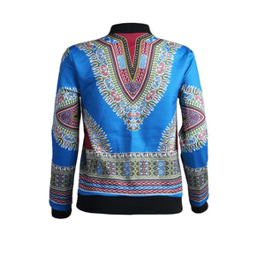 Remelon Womens African Print Classic Zipper Biker Bomber Jacket Short Coat - Ufumbuzi - Home