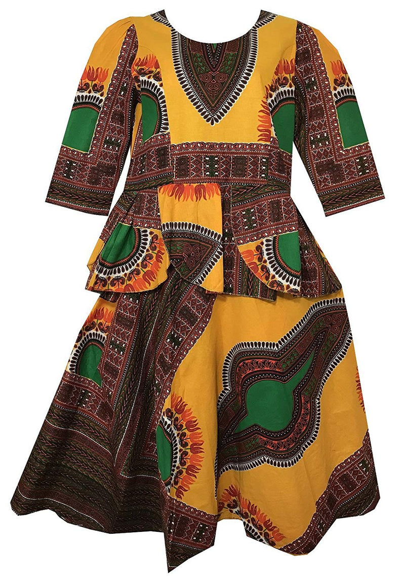Decoraapparel African Girls Wax Dashiki Wrap Skirt Suit Women Maxi Outfit Suit M, L, XL - Ufumbuzi - Home