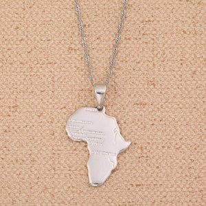 BR Gold Jewelry Big Size Crystal Africa Map Pendant Necklace Women Girl 24K Gold Plated African Map Hiphop Item