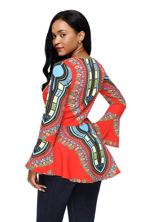 HOTAPEI Women African Printed Slim Fit Long Sleeve Clubwear Party Shirt Blouse Top - Ufumbuzi - Home
