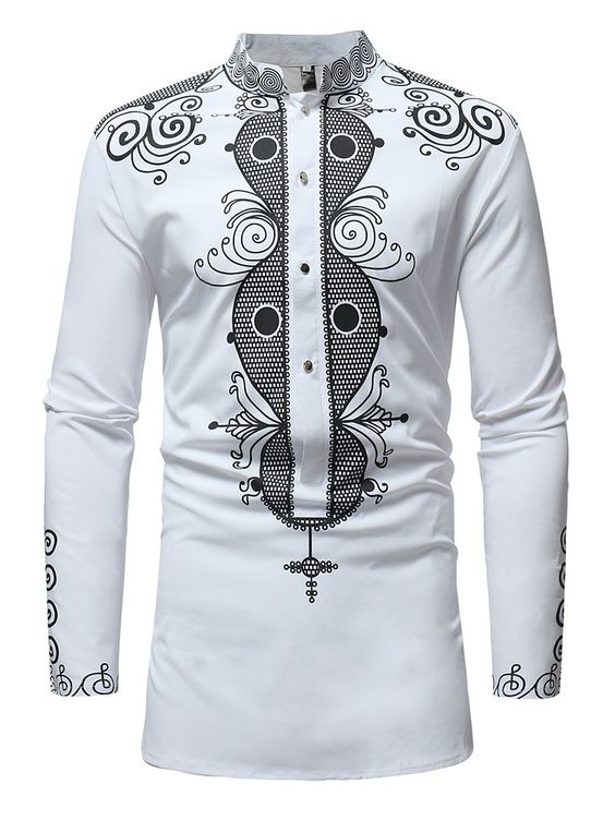 African Print Long sleeve Stand Collar Men's Shirt - Ufumbuzi - Home