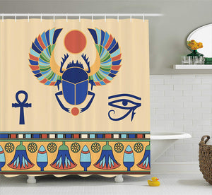 Ambesonne Egyptian Shower Curtain, Ancient Antique Historical Culture Icon of Scarab Eye with Ornaments Print, Fabric Bathroom Decor Set with Hooks, 70 Inches, Multicolor