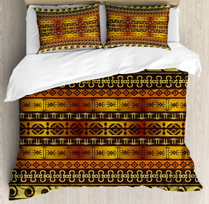 Ambesonne Primitive Duvet Cover Set Queen Size, Indigenous Geometric Motifs with Ethnic Ornament Traditional Tribal Figures, Decorative 3 Piece Bedding Set with 2 Pillow Shams, Brown Yellow - Ufumbuzi - Home