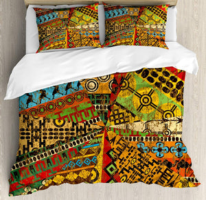 Ambesonne African Duvet Cover Set King Size, Grunge Collage with Ethnic Motifs Tribal Ancient Traditional Art Ornate Geometric, Decorative 3 Piece Bedding Set with 2 Pillow Shams, Multicolor - Ufumbuzi - Home