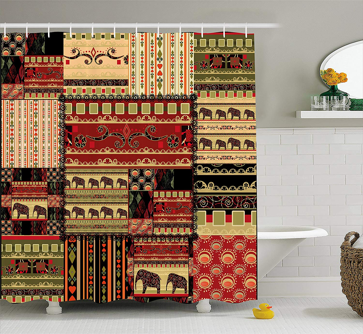 Ambesonne African Shower Curtain, Patchwork Style Asian Pattern with Elephants and Cultural Ancient Motifs Print, Fabric Bathroom Decor Set with Hooks, 75 Inches Long, Red Green Black