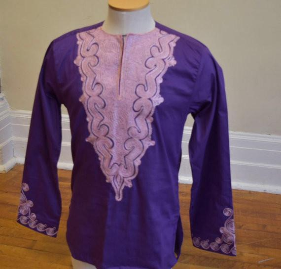 African Embroidered Mens Shirts(Mauve) - Ufumbuzi - Home
