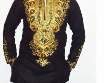 African Embroidered Mens Shirts  (Black)