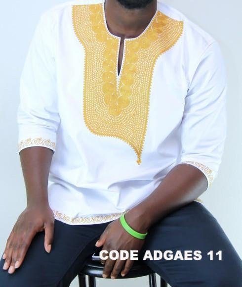 African Embroidered Mens Shirts  (White)