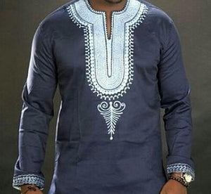 African Embroidered Mens Shirts  (Navy Blue)