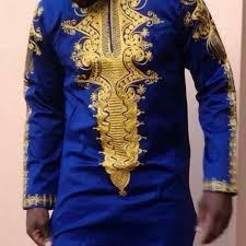 African Embroidered Mens Shirts(Blue)