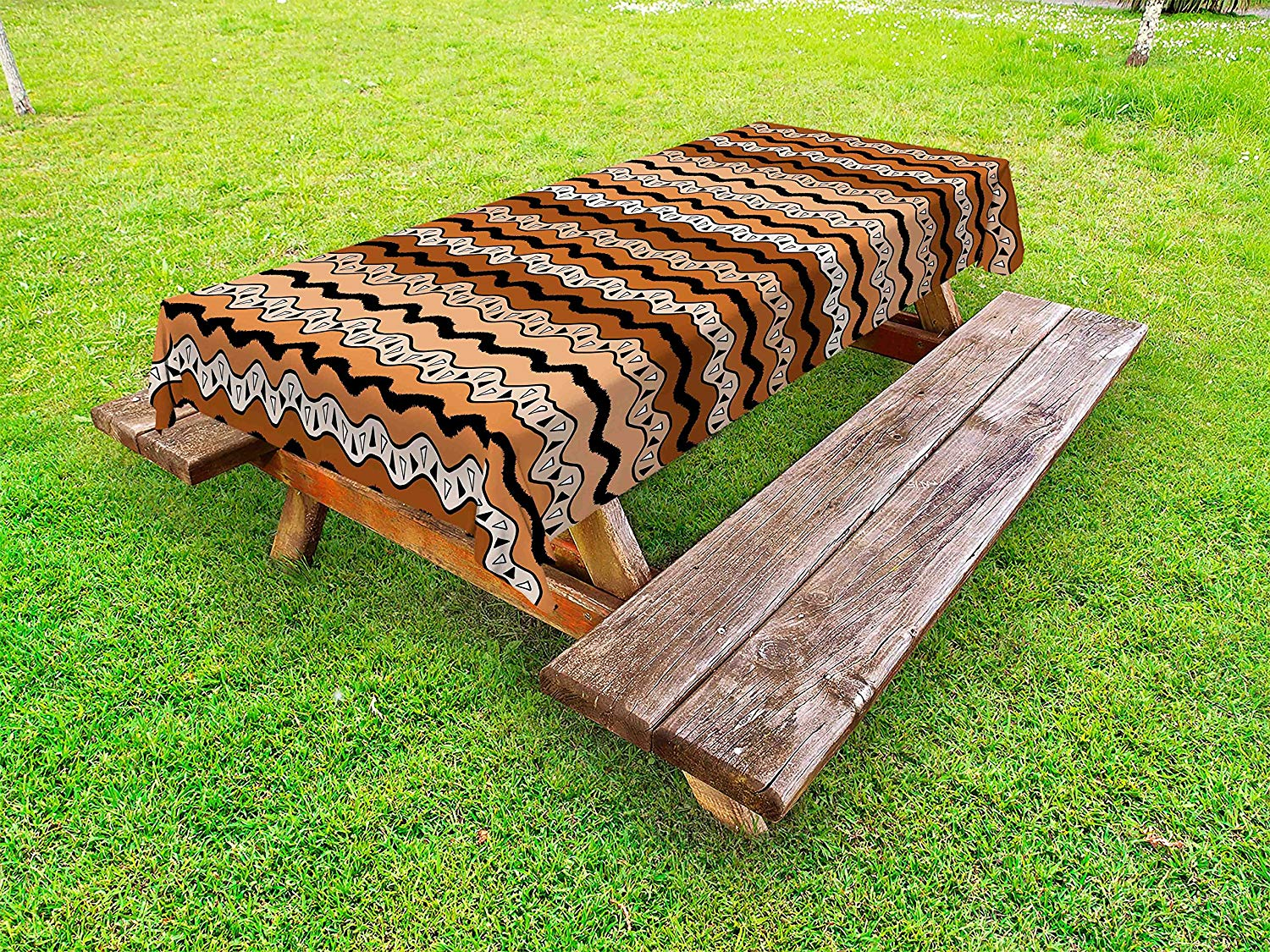 Ambesonne Zambia Outdoor Tablecloth, Tribal Pattern with Wavy Lines Geometric Triangles Kenyan Art Design, Decorative Washable Picnic Table Cloth, 58 X 84 inches, Cinnamon Pale Brown Black