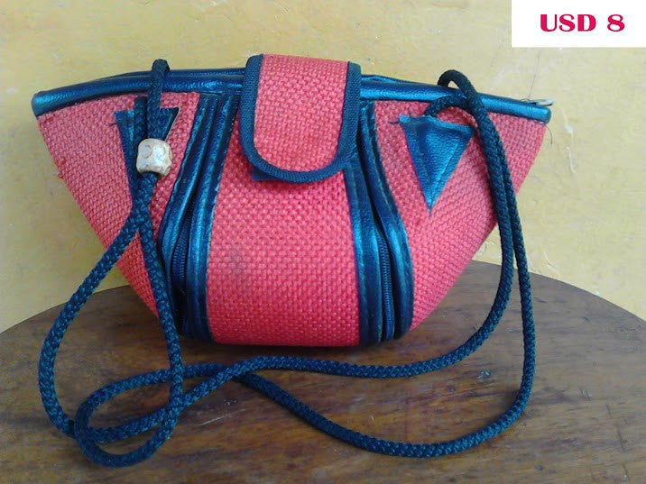 Leather & Fabric Shoulder Bag