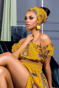 YELLOW FREYA aFRICAN PRINT TOP - Ufumbuzi - Home